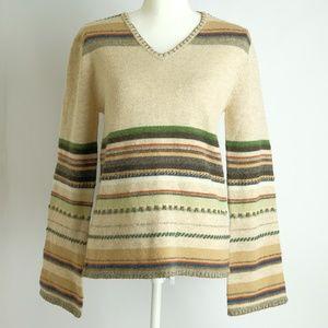 BKE Lambs' Wool Tan Striped Sweater, Size M